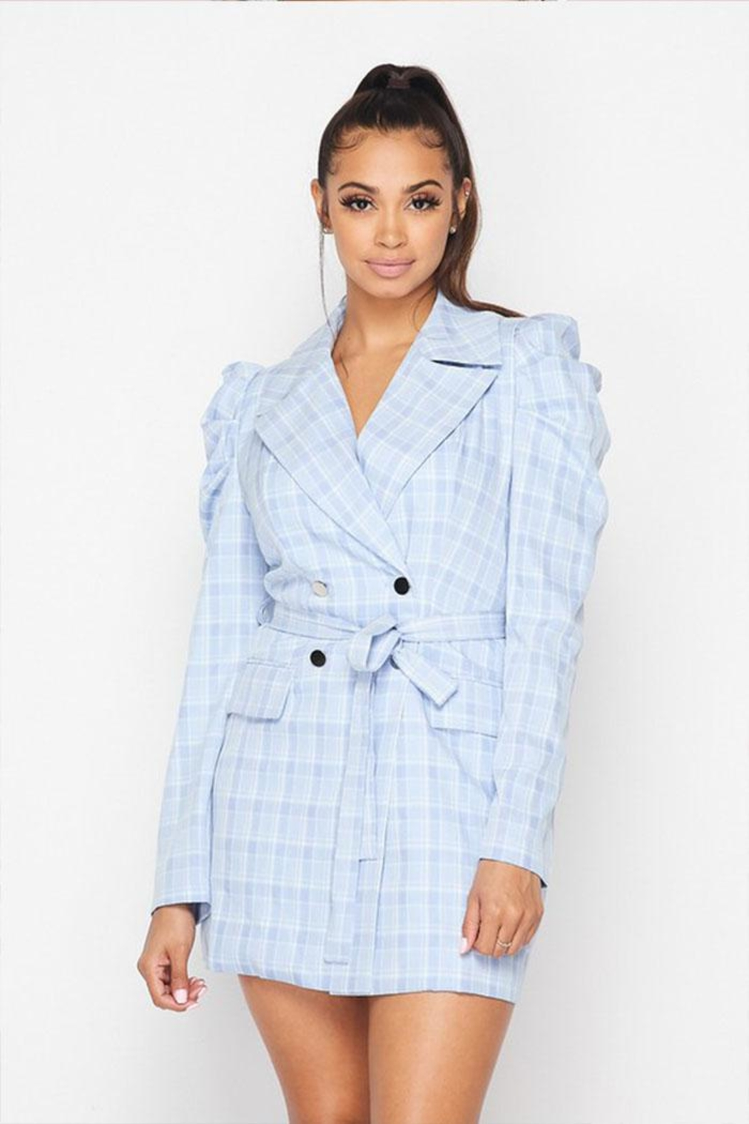 Hot & Delicious Plaid Blazer Dress - Front Cropped Image