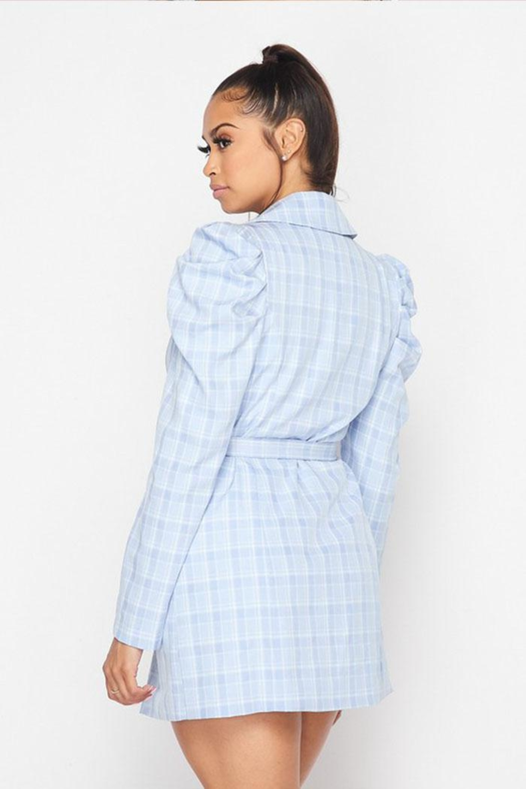 Hot & Delicious Plaid Blazer Dress - Back Cropped Image