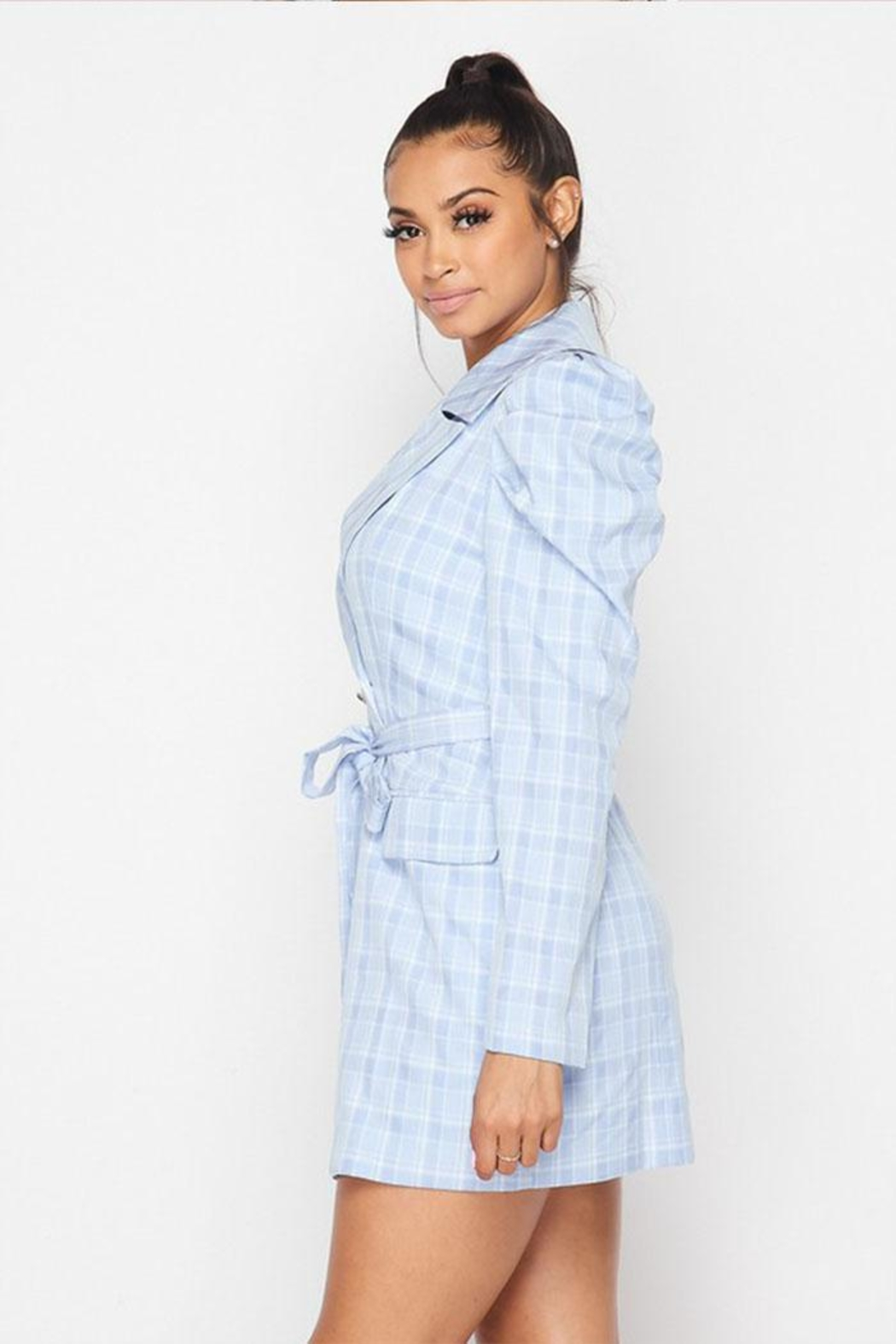 Hot & Delicious Plaid Blazer Dress - Side Cropped Image