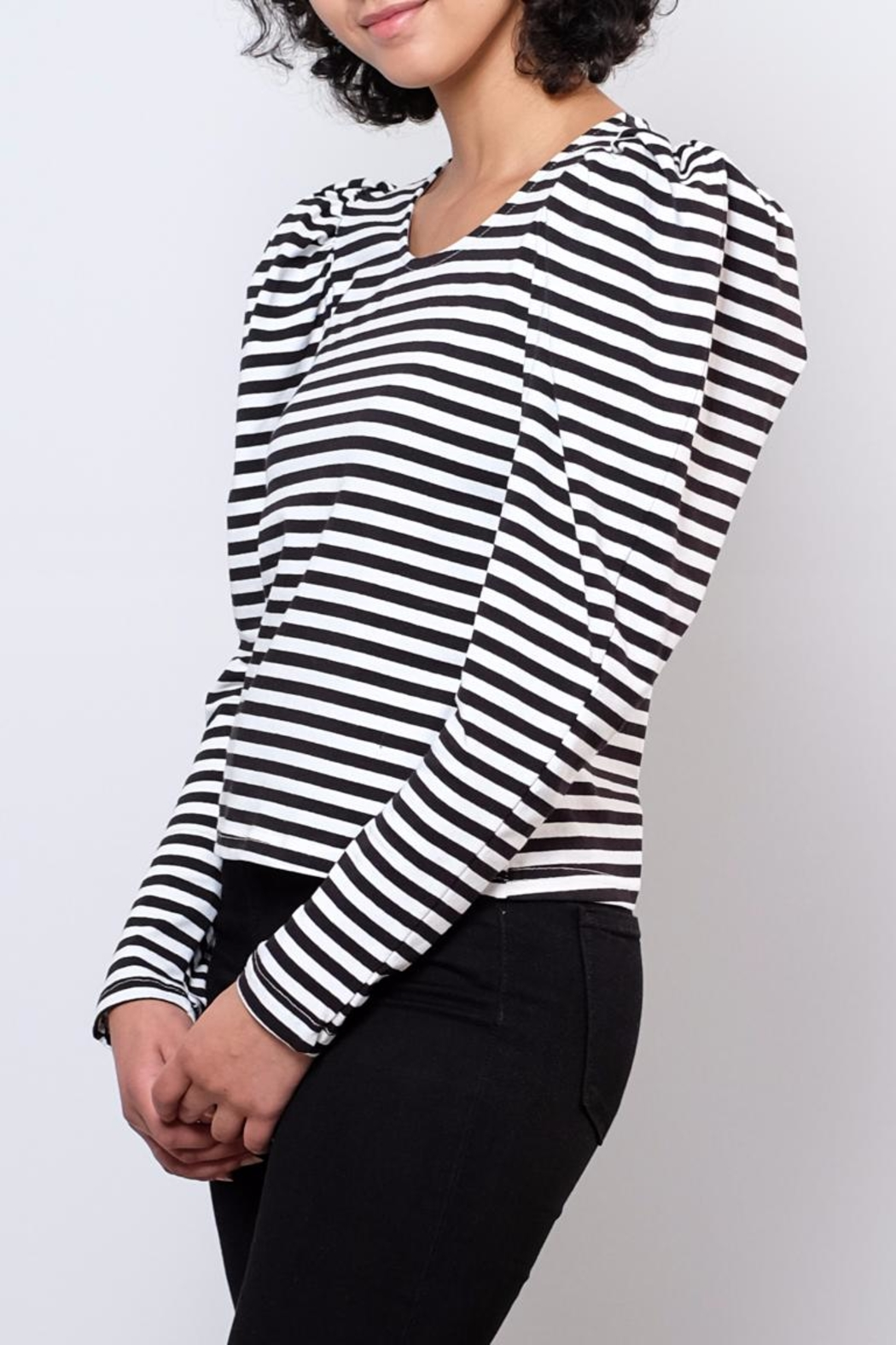 Hot & Delicious Puff Shoulder Top - Front Cropped Image