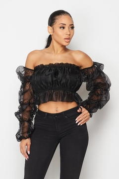 Hot & Delicious Puff Sleeve Crop-Top - Product List Image