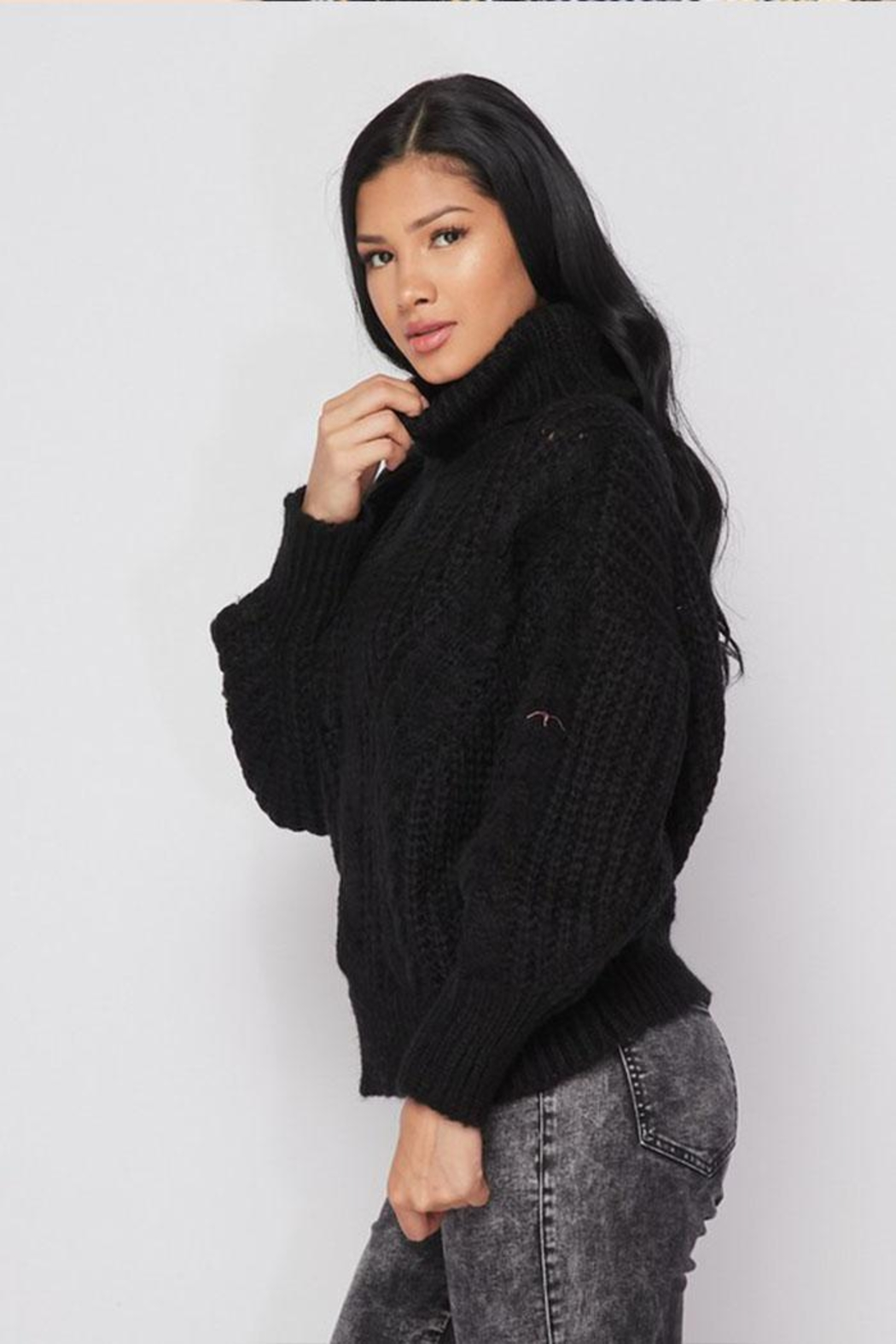 Hot & Delicious Turtle Neck Sweater - Side Cropped Image