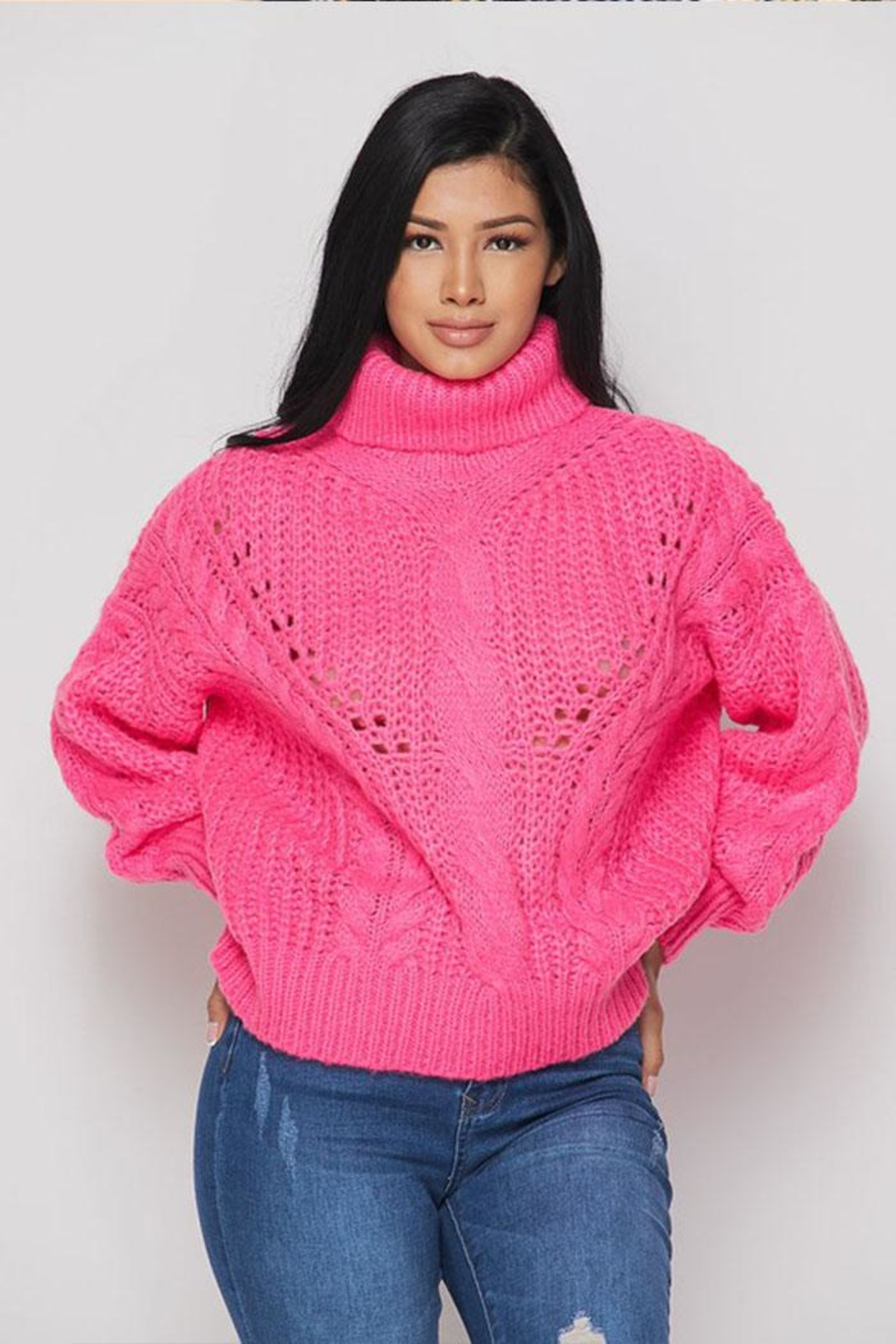 Hot & Delicious Turtle Neck Sweater - Front Cropped Image
