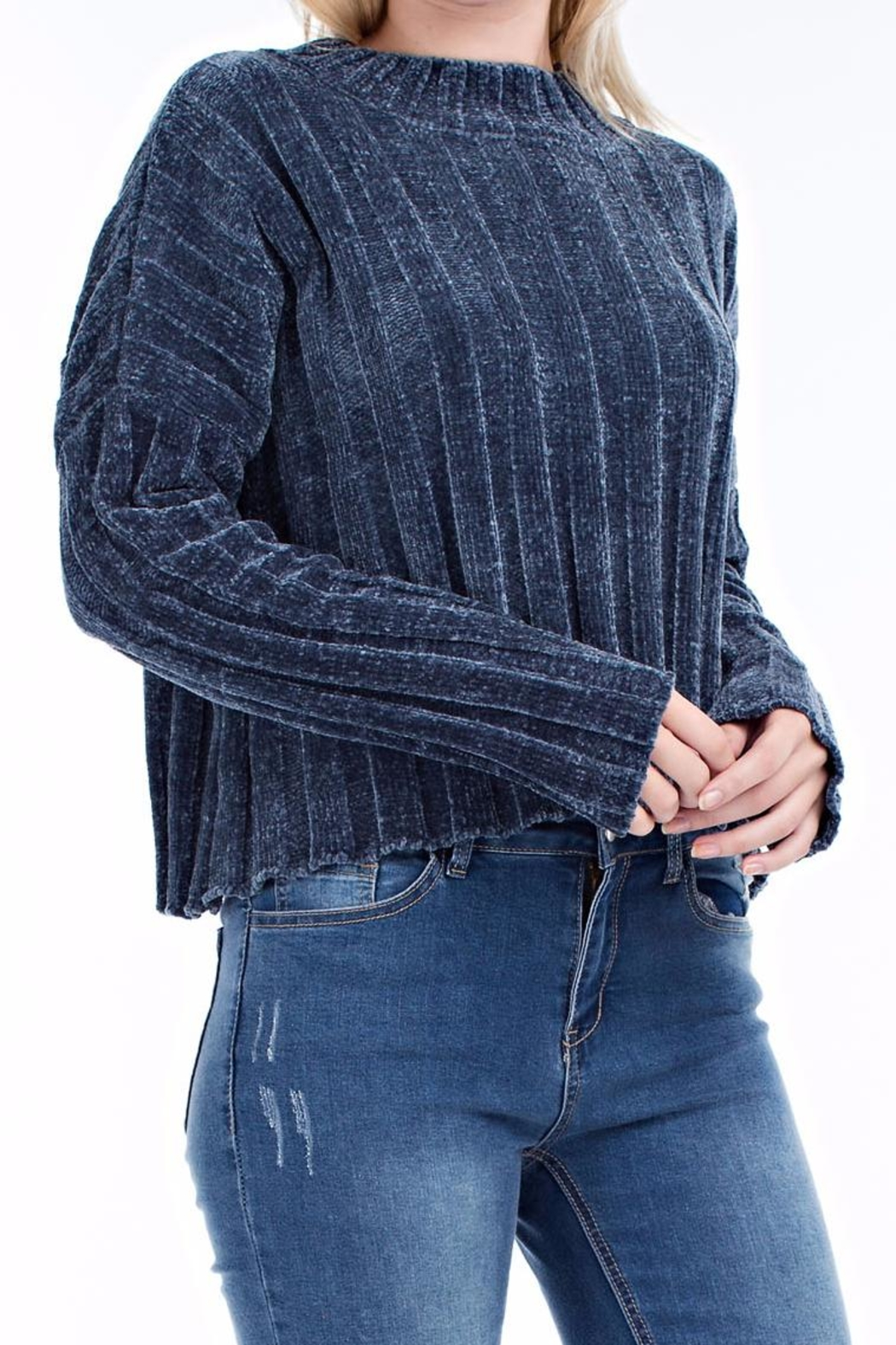 hot and delicious Blue Chenille Sweater - Front Full Image