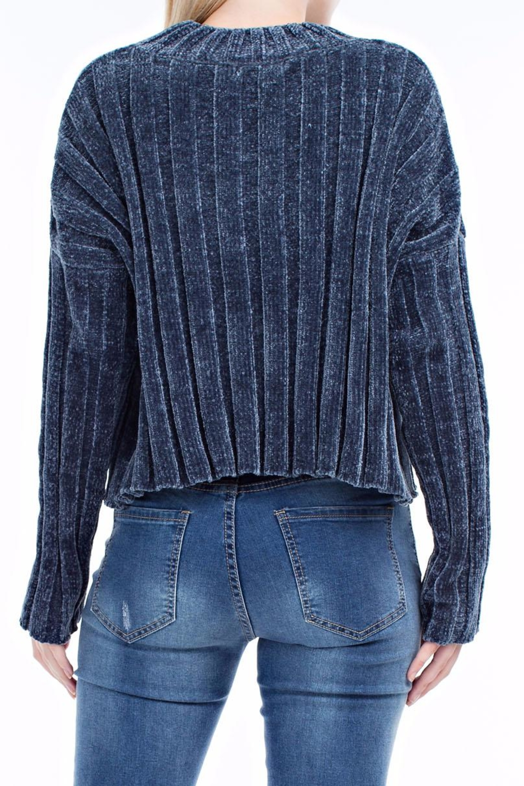 hot and delicious Blue Chenille Sweater - Side Cropped Image