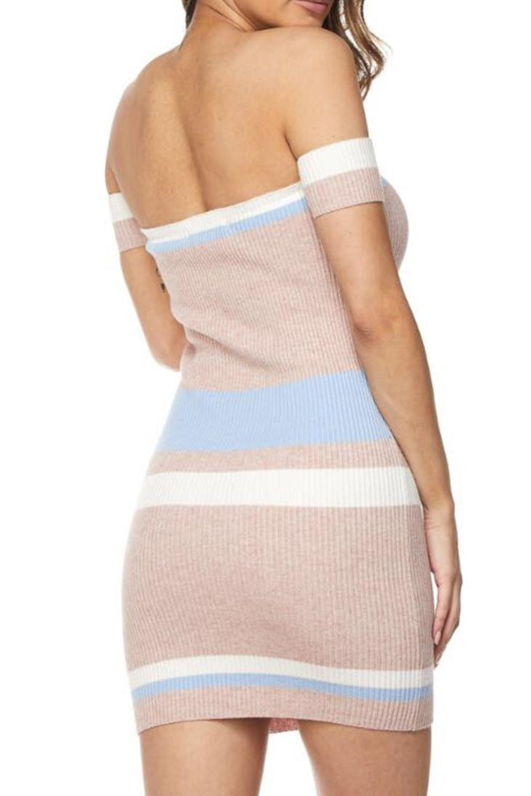 hot and delicious Colored Stripe Dress - Side Cropped Image