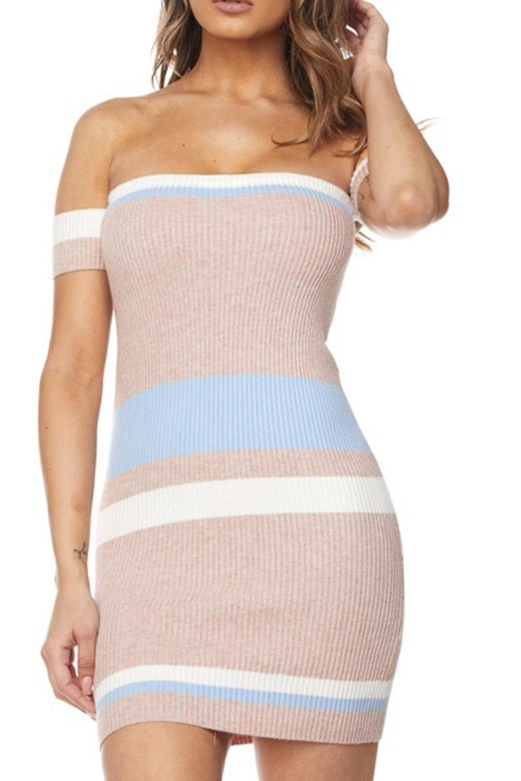 hot and delicious Colored Stripe Dress - Main Image