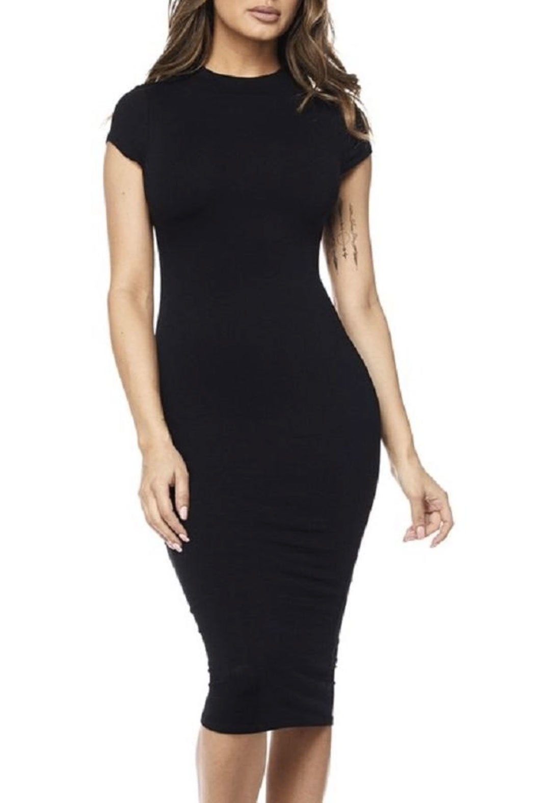 hot and delicious Cap Sleeve Midi Dress - Front Full Image