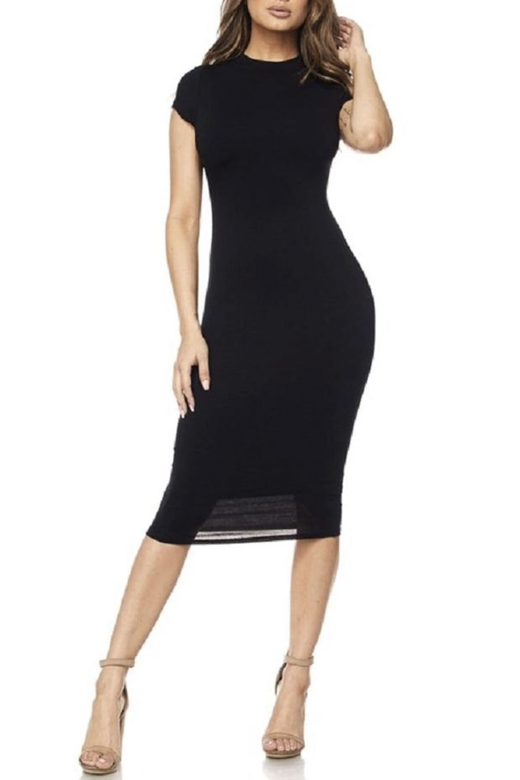 hot and delicious Cap Sleeve Midi Dress - Main Image