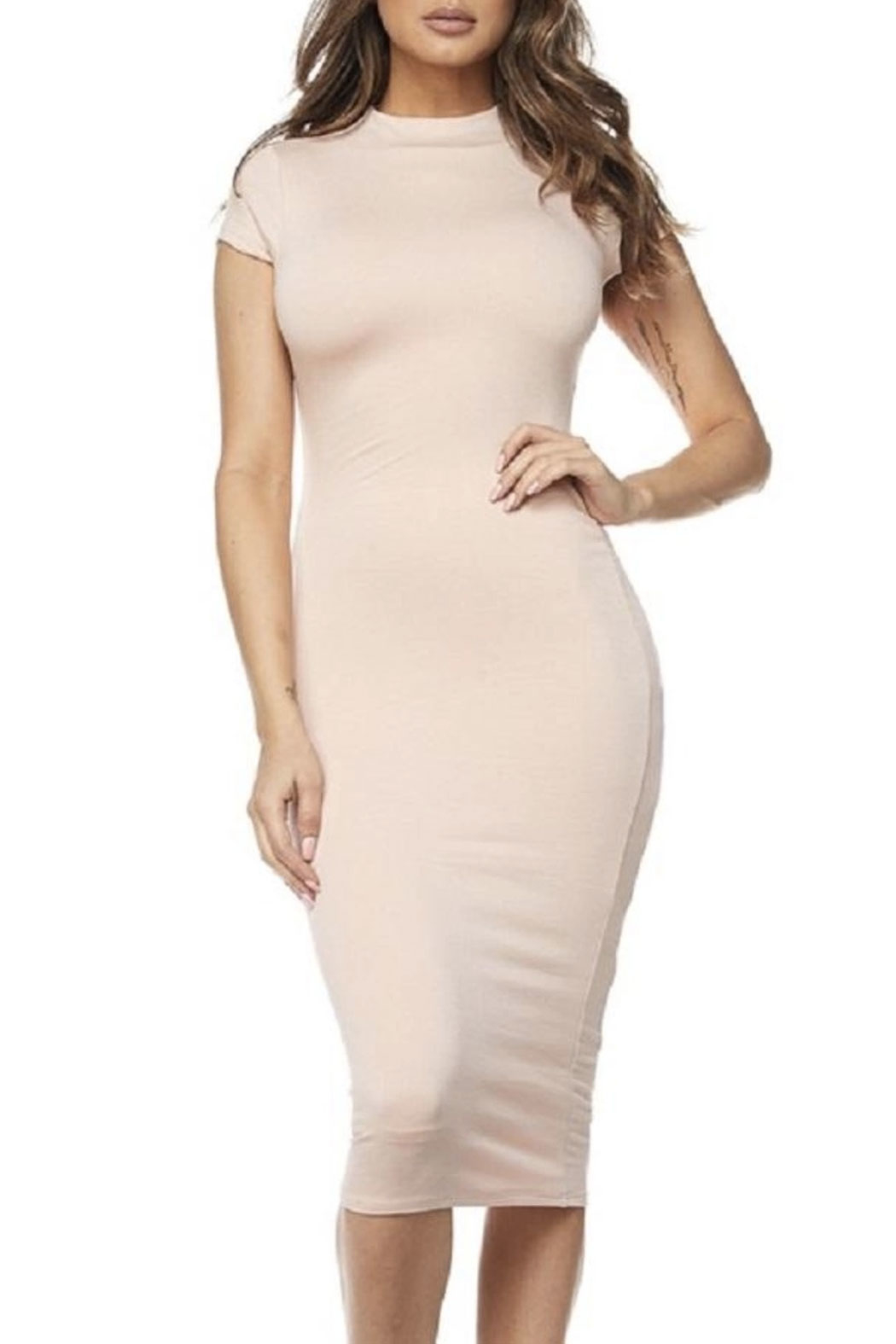 hot and delicious Cap Sleeve Midi Dress - Side Cropped Image
