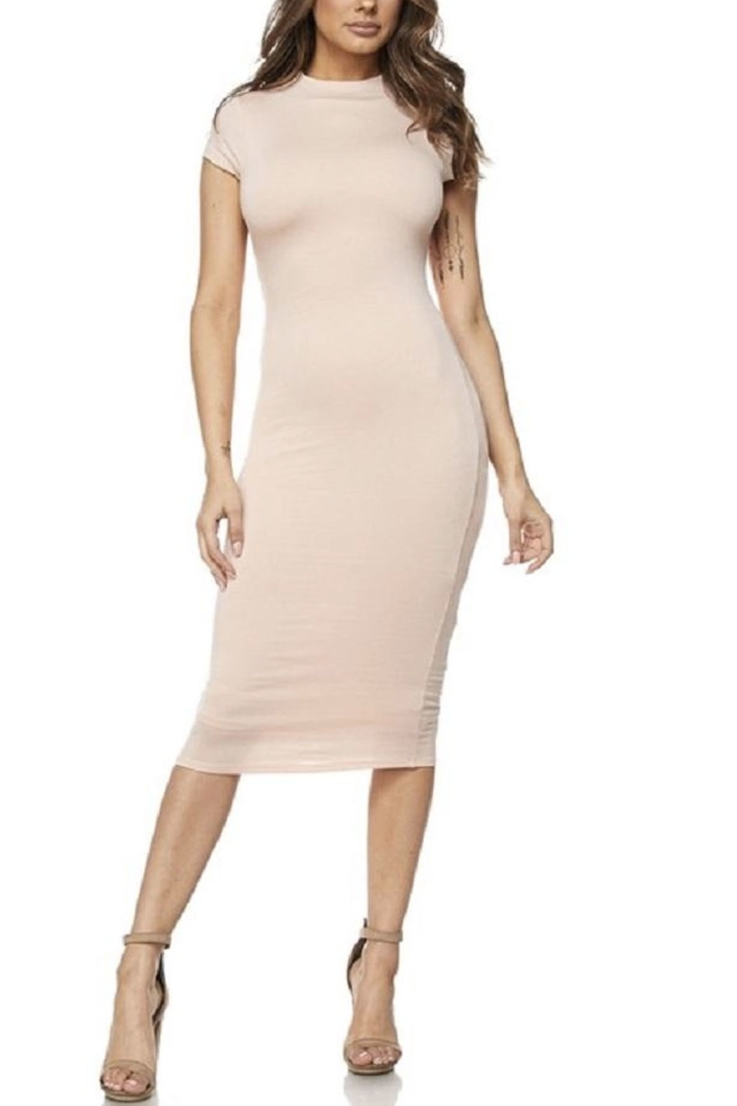 hot and delicious Cap Sleeve Midi Dress - Front Cropped Image