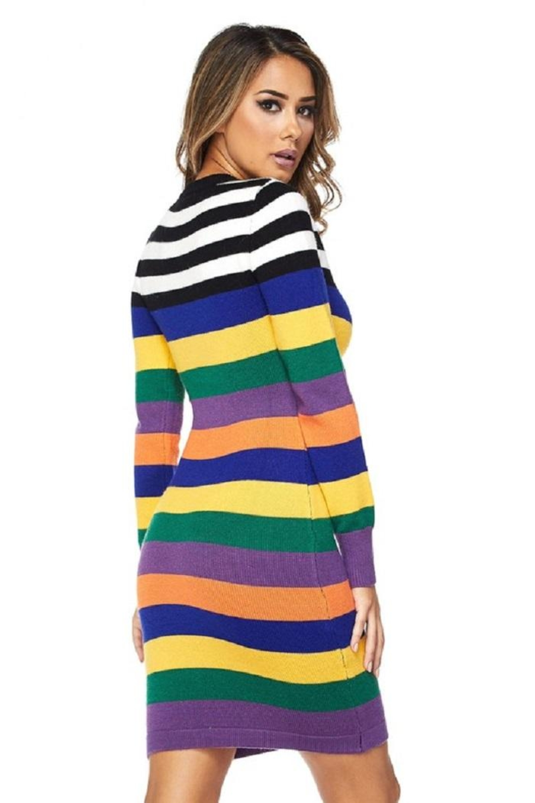 hot and delicious Multistripe Dress - Front Full Image