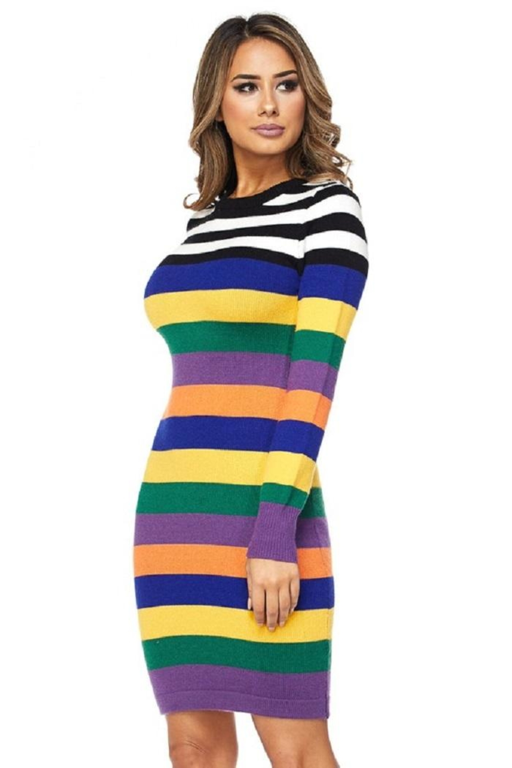 hot and delicious Multistripe Dress - Main Image