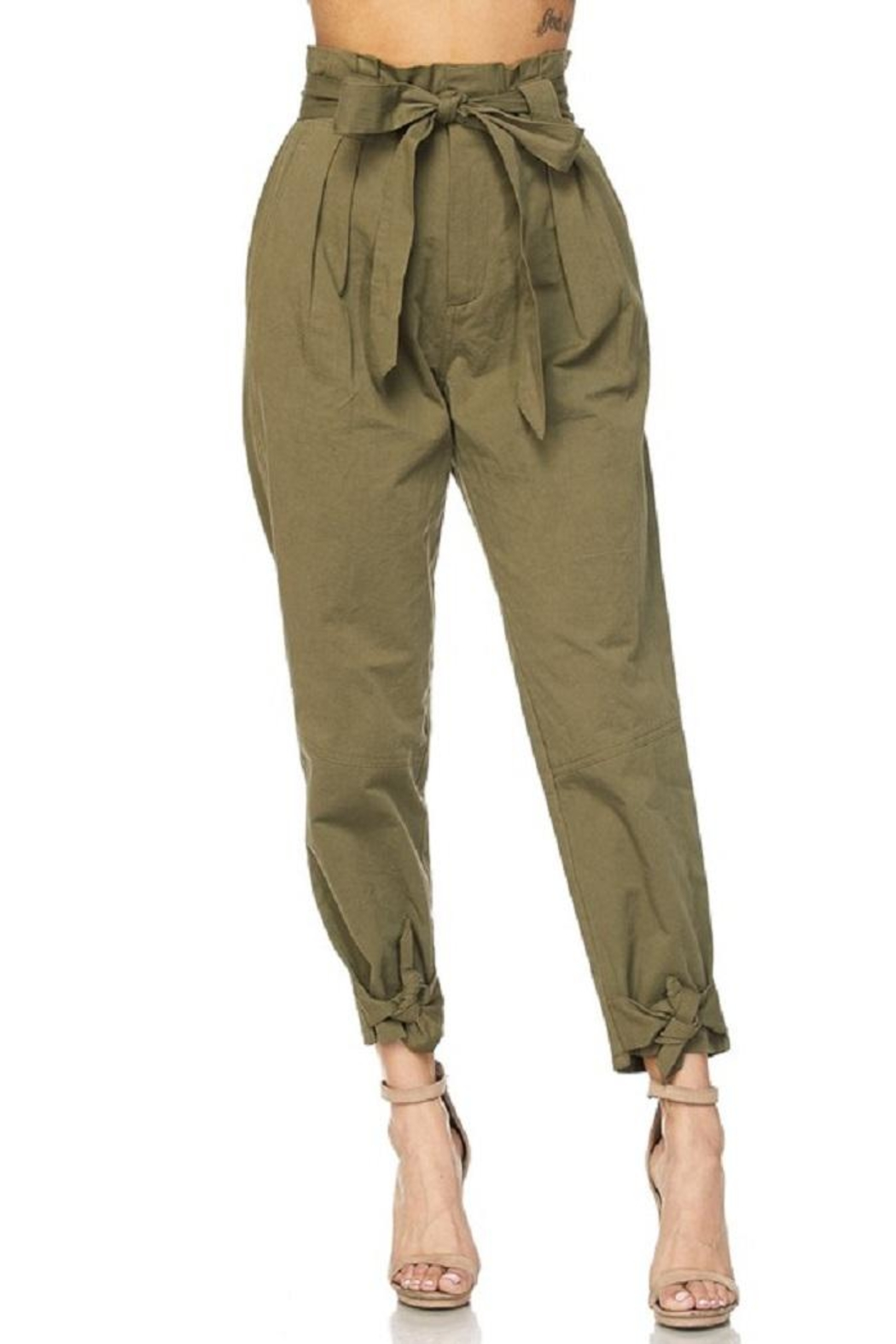 hot and delicious Olive Paperbag Pants - Side Cropped Image