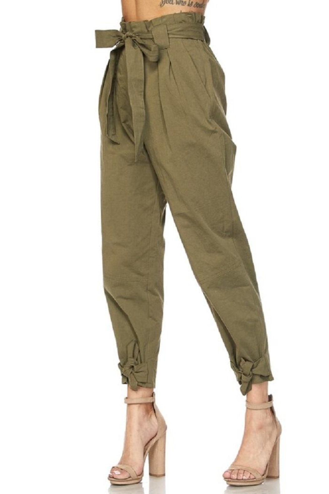 hot and delicious Olive Paperbag Pants - Main Image