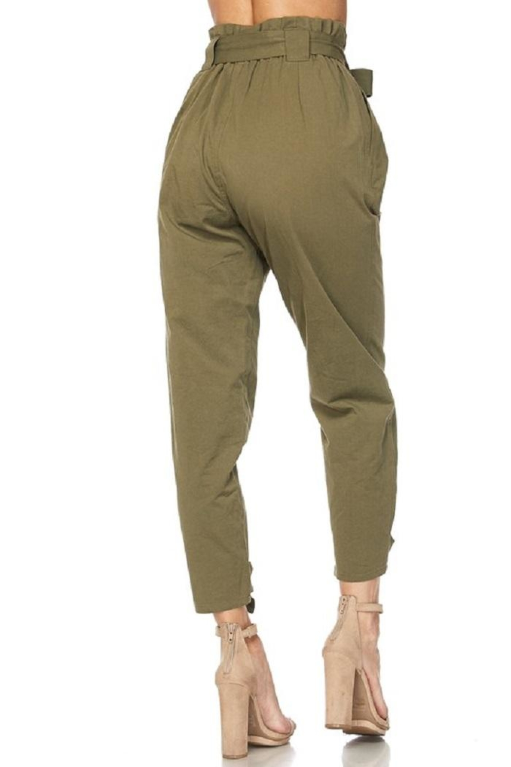 hot and delicious Olive Paperbag Pants - Front Full Image