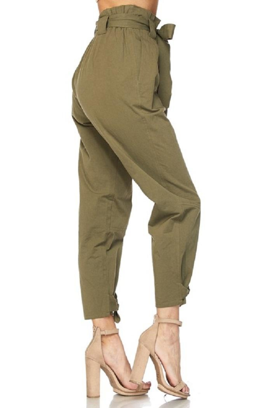 hot and delicious Olive Paperbag Pants - Back Cropped Image