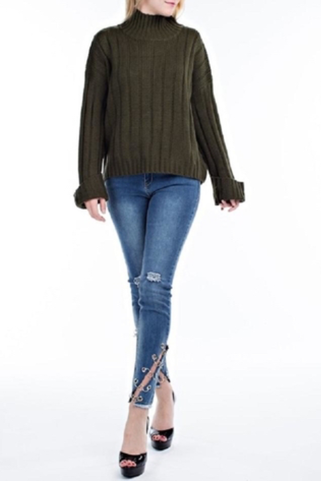 hot and delicious Oversized Chenille Sweater - Back Cropped Image
