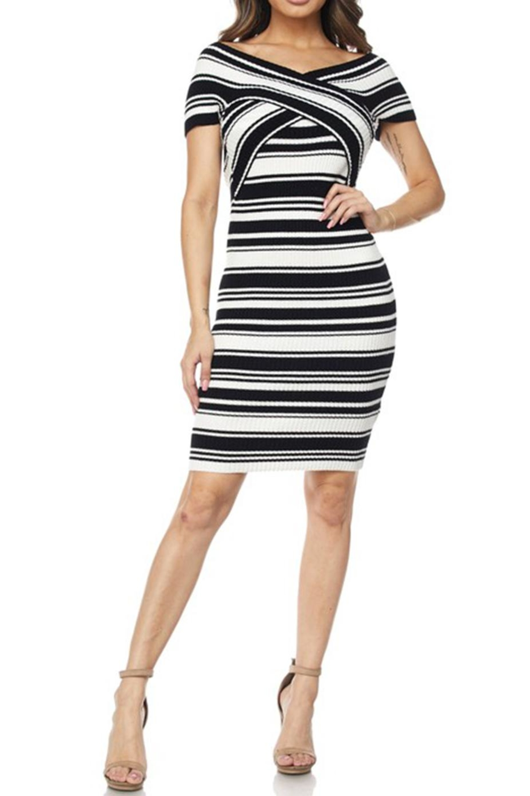 hot and delicious Stripe Bandage Dress - Main Image