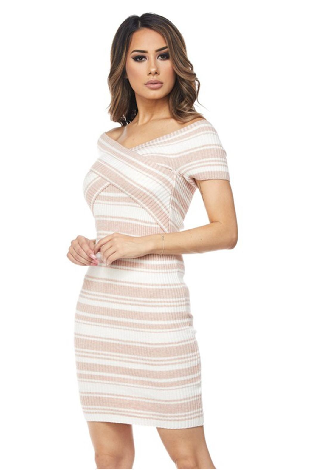 hot and delicious Stripe Bandage Dress - Front Full Image