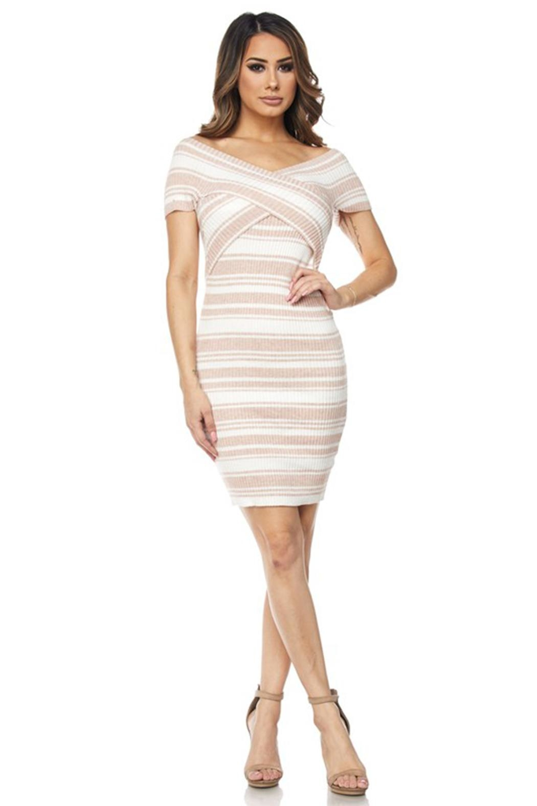 hot and delicious Stripe Bandage Dress - Front Cropped Image