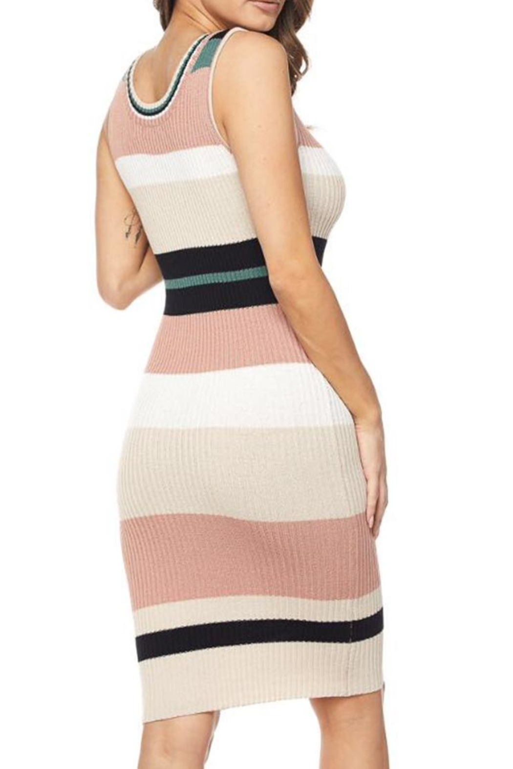 hot and delicious Striped Dress - Front Full Image