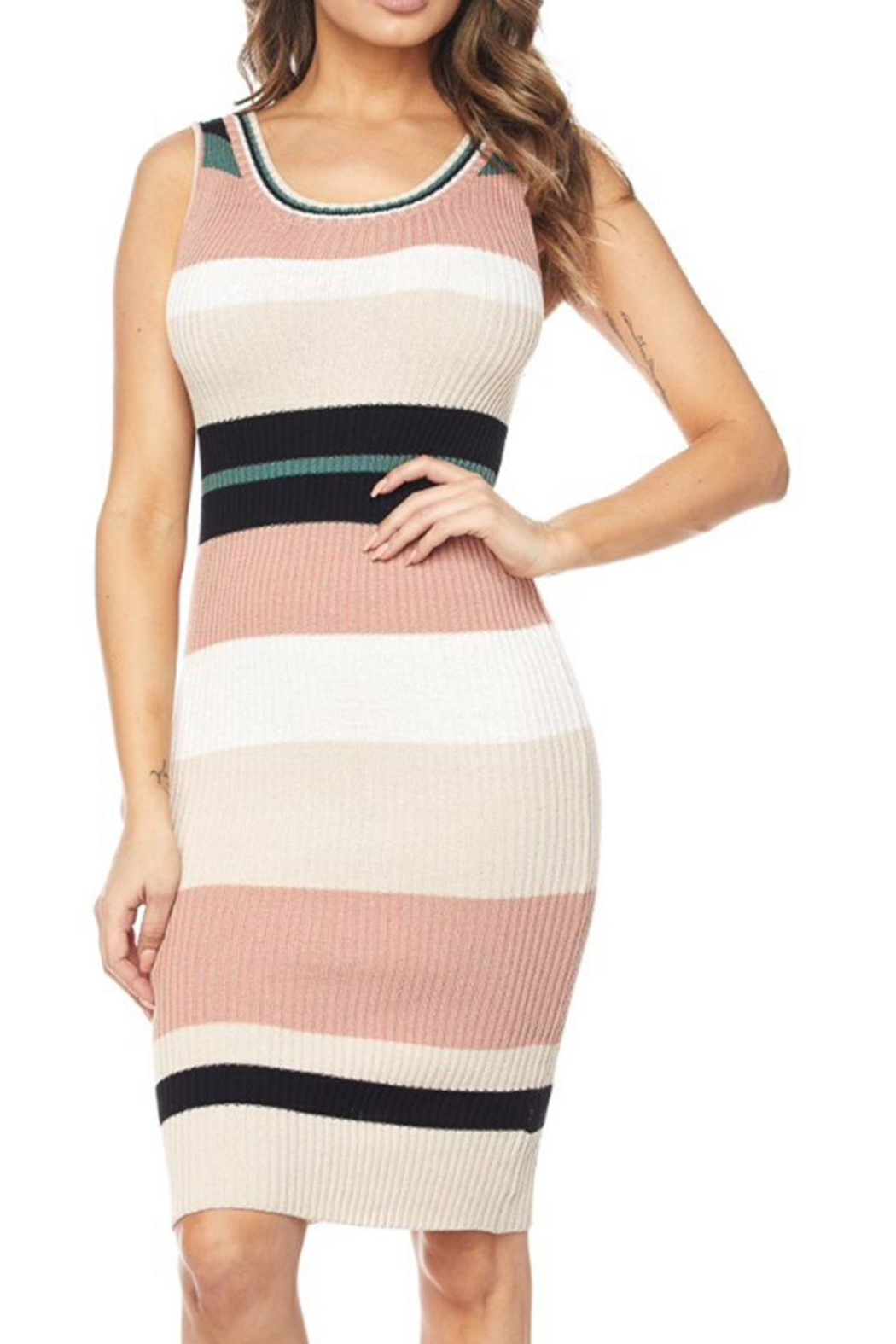 hot and delicious Striped Dress - Main Image