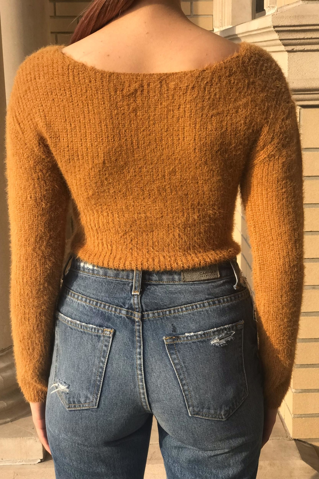 hot and delicious Wrap Crop Sweater - Side Cropped Image