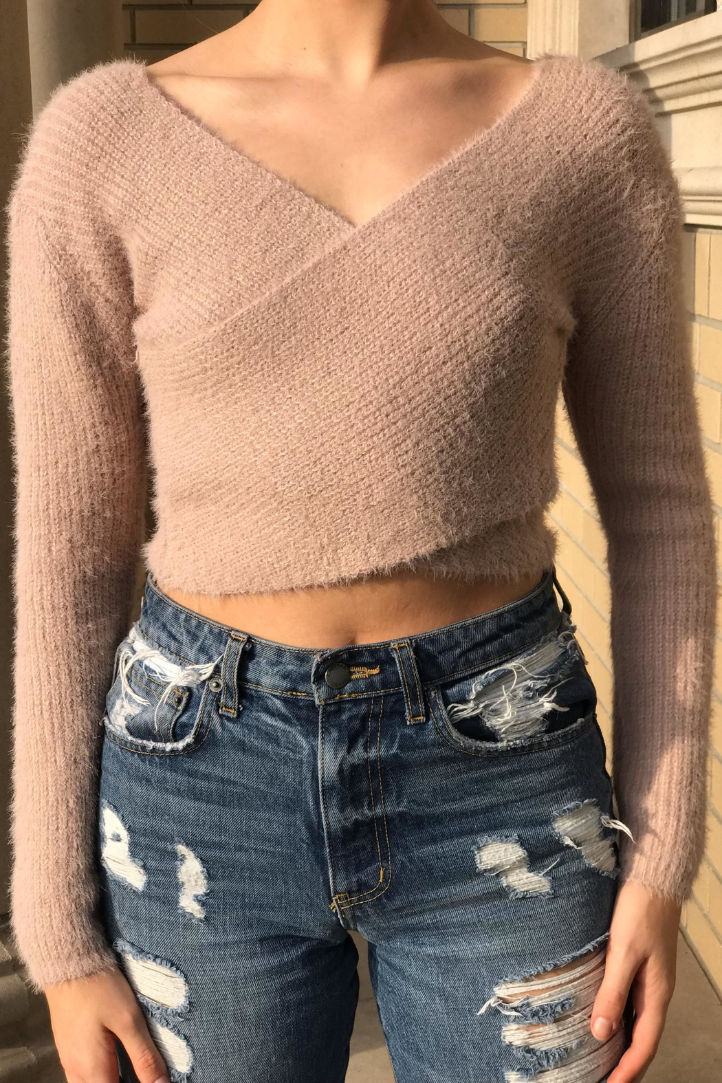 hot and delicious Wrap Crop Sweater - Front Cropped Image