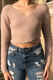 hot and delicious Wrap Crop Sweater - Front cropped