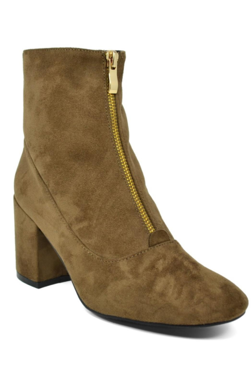 Hot Kiss Zippy-Taupe Suede Bootie - Front Cropped Image