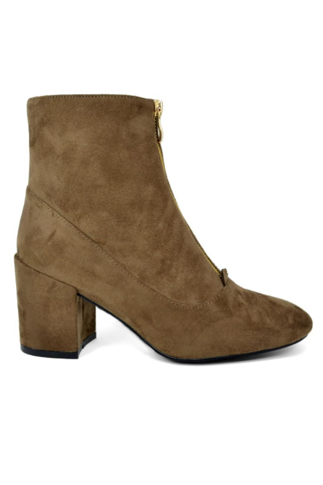 Hot Kiss Zippy-Taupe Suede Bootie - Side Cropped Image
