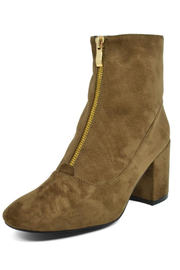Hot Kiss Zippy-Taupe Suede Bootie - Product Mini Image