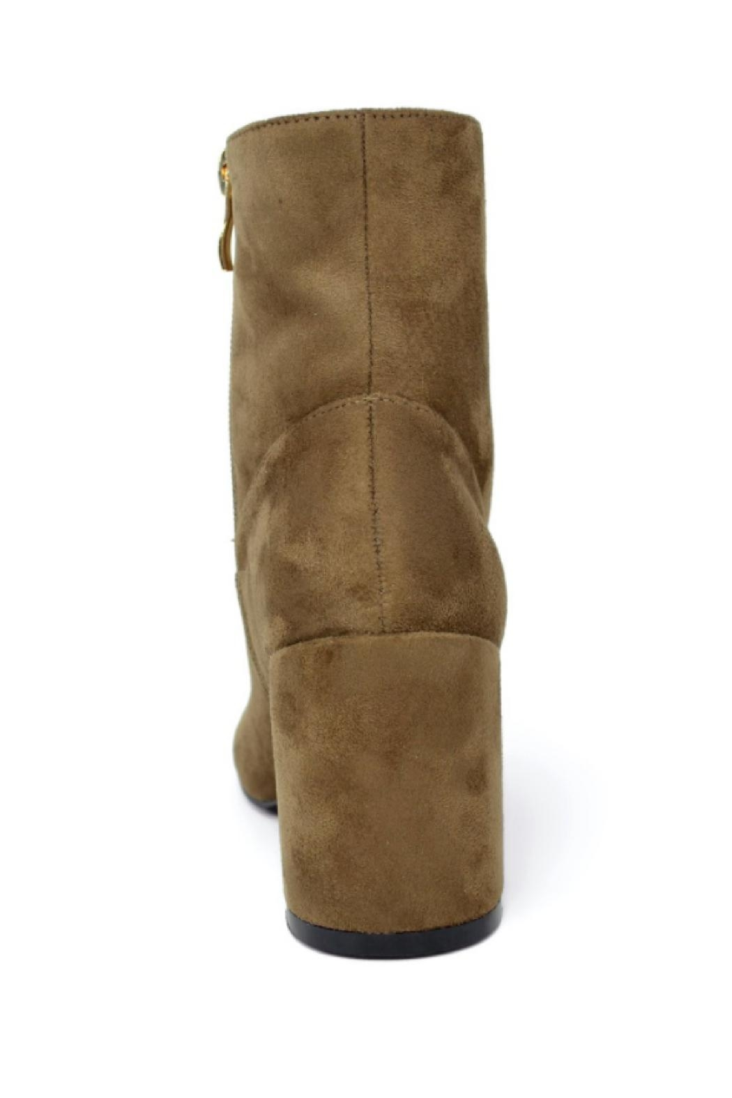 Hot Kiss Zippy-Taupe Suede Bootie - Back Cropped Image