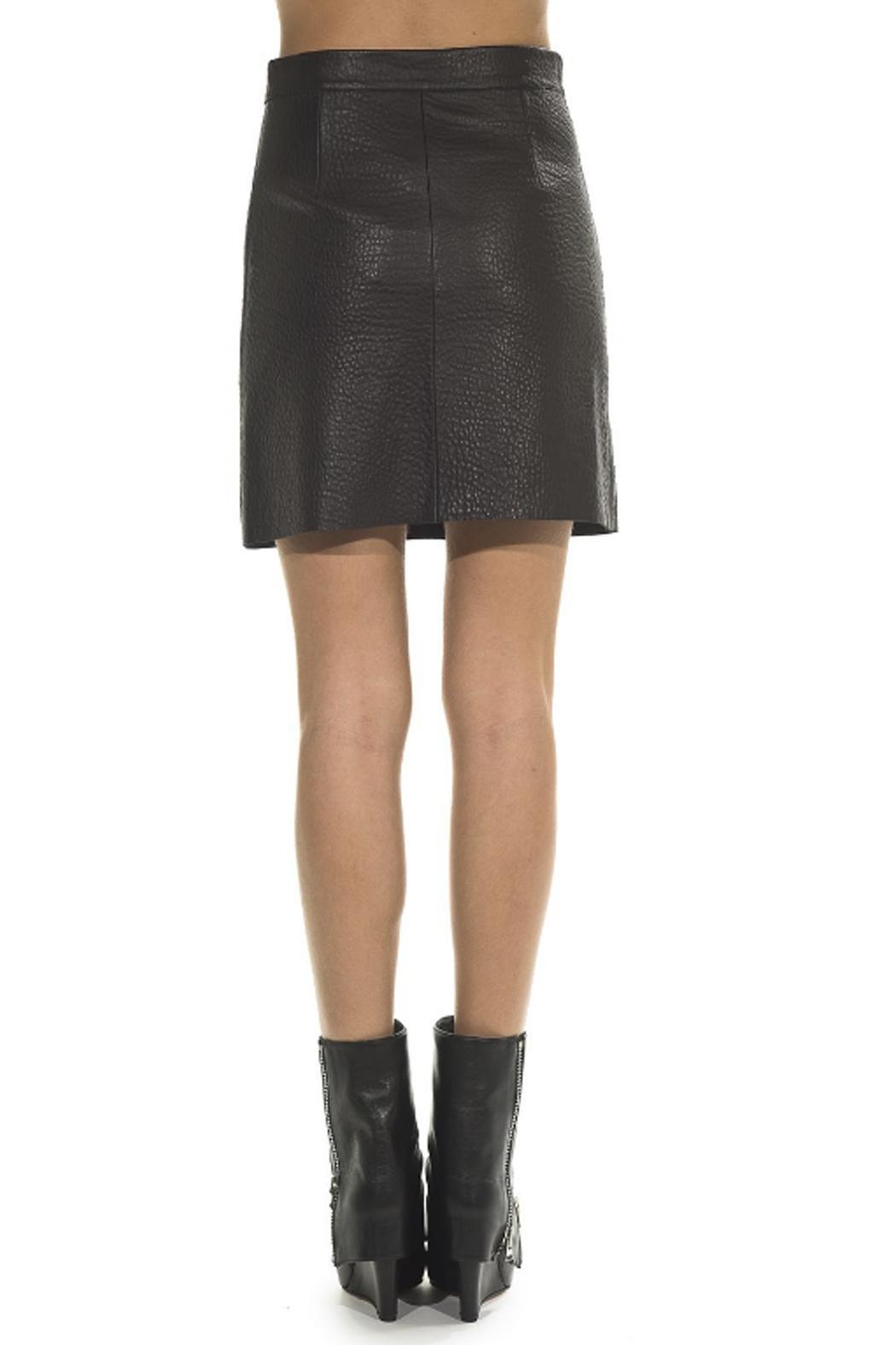hotel particulier Black Leather Skirt - Side Cropped Image