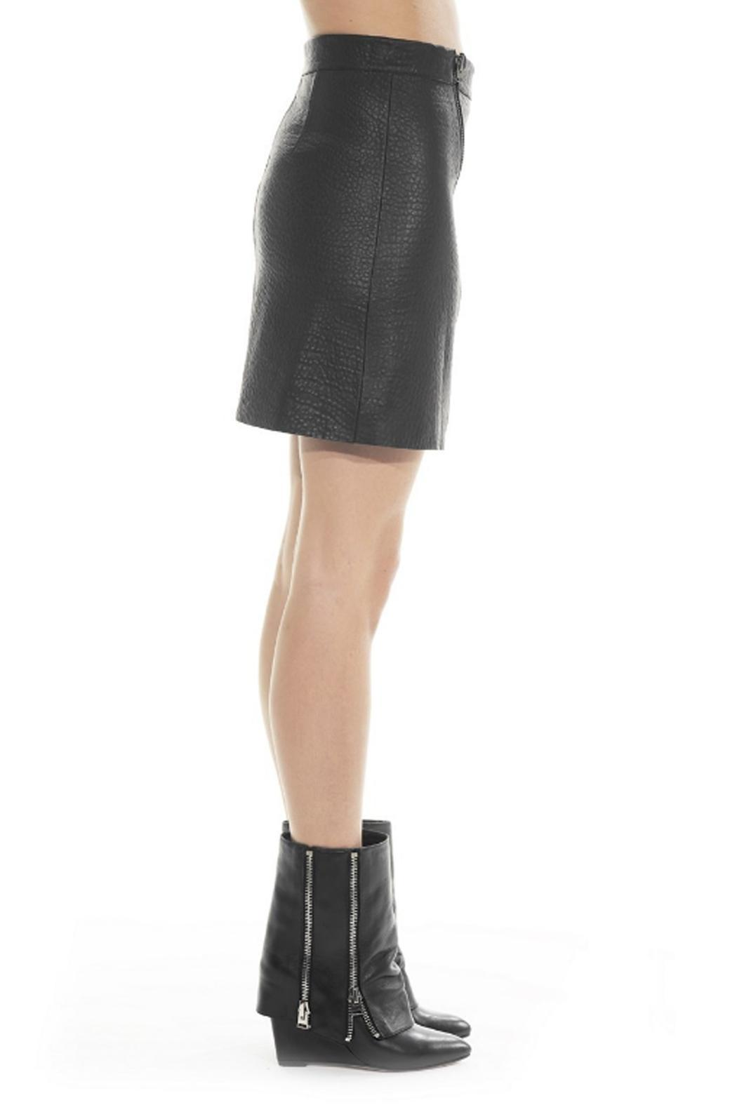 hotel particulier Black Leather Skirt - Front Full Image