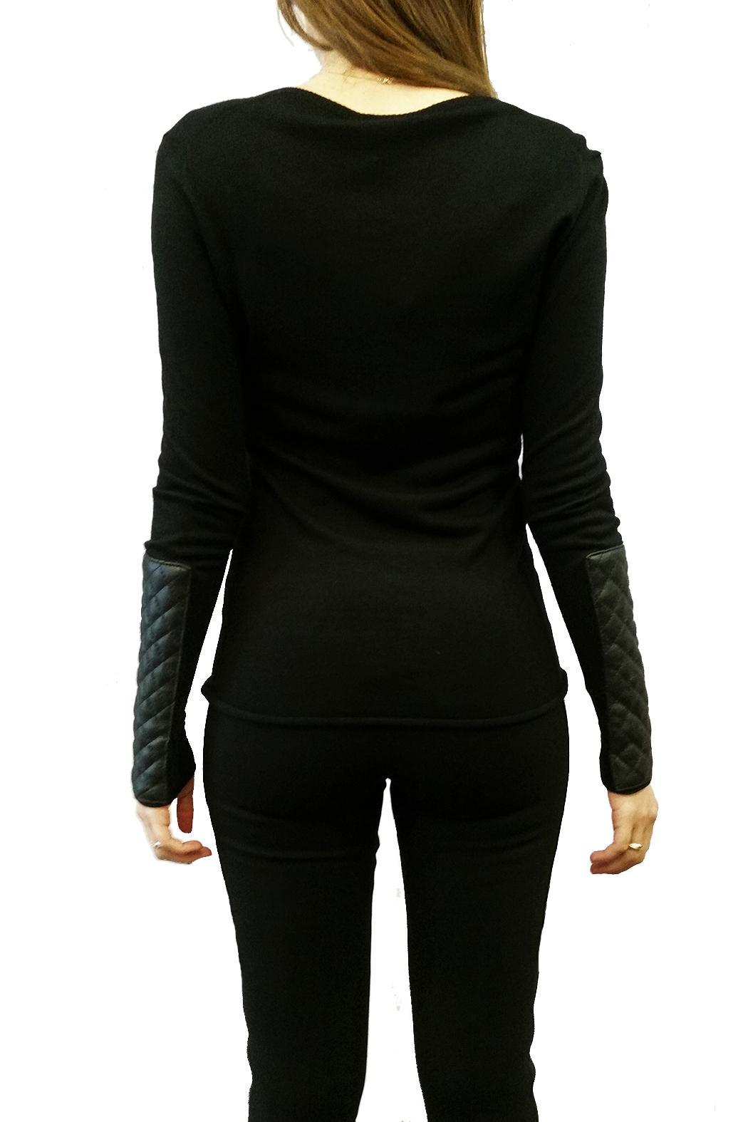 hotel particulier Leather Effect Jumper - Side Cropped Image