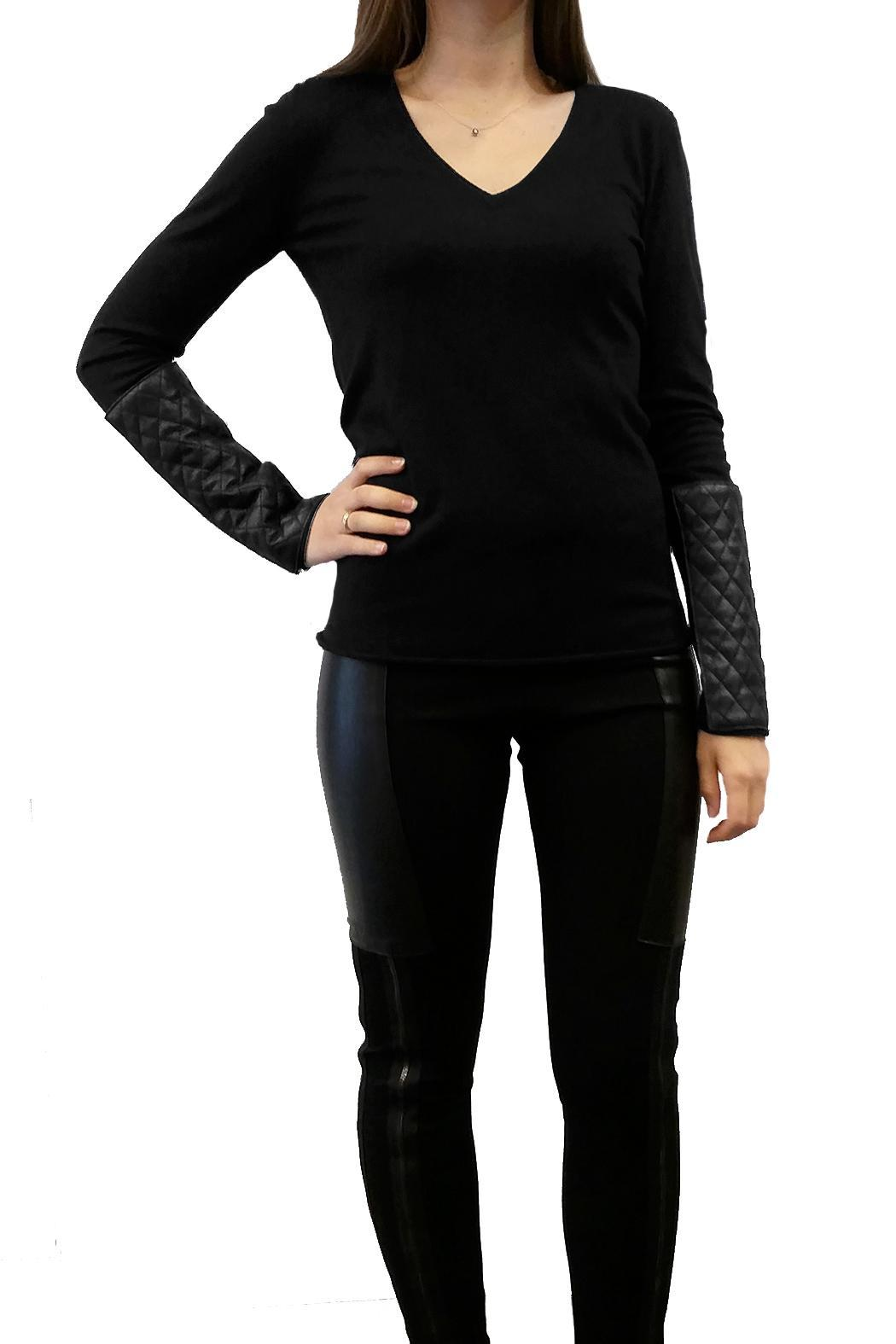 hotel particulier Leather Effect Jumper - Main Image