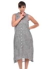 Tulip Hounds-Tooth Button-Up Dress - Front cropped