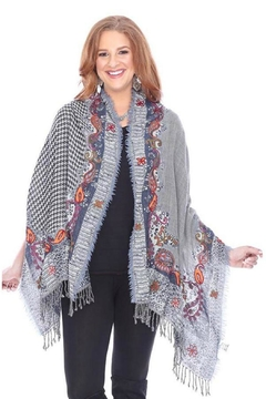 Parsley & Sage Hounds-Tooth Embroidered Shawl - Alternate List Image