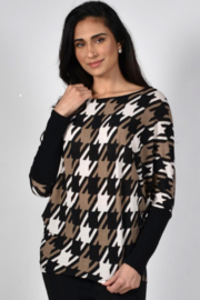 Frank Lyman Hounds Tooth Knit Top 214564 - Front cropped