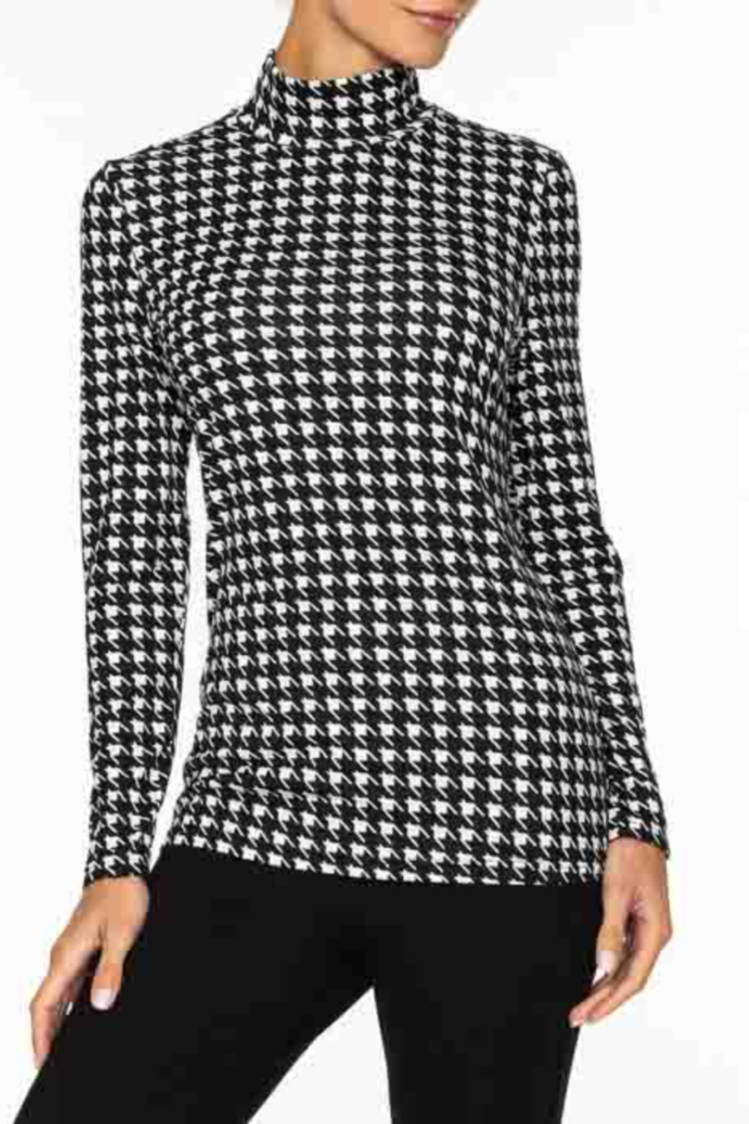 Alison Sheri  Hounds Tooth Pattern Mock Neck - Main Image