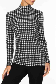 Alison Sheri  Hounds Tooth Pattern Mock Neck - Front cropped