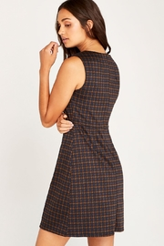 Apricot Houndstooth & Button Dress - Front full body