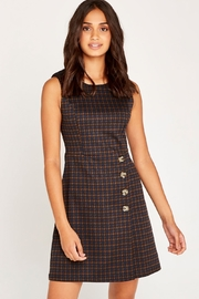 Apricot Houndstooth & Button Dress - Front cropped