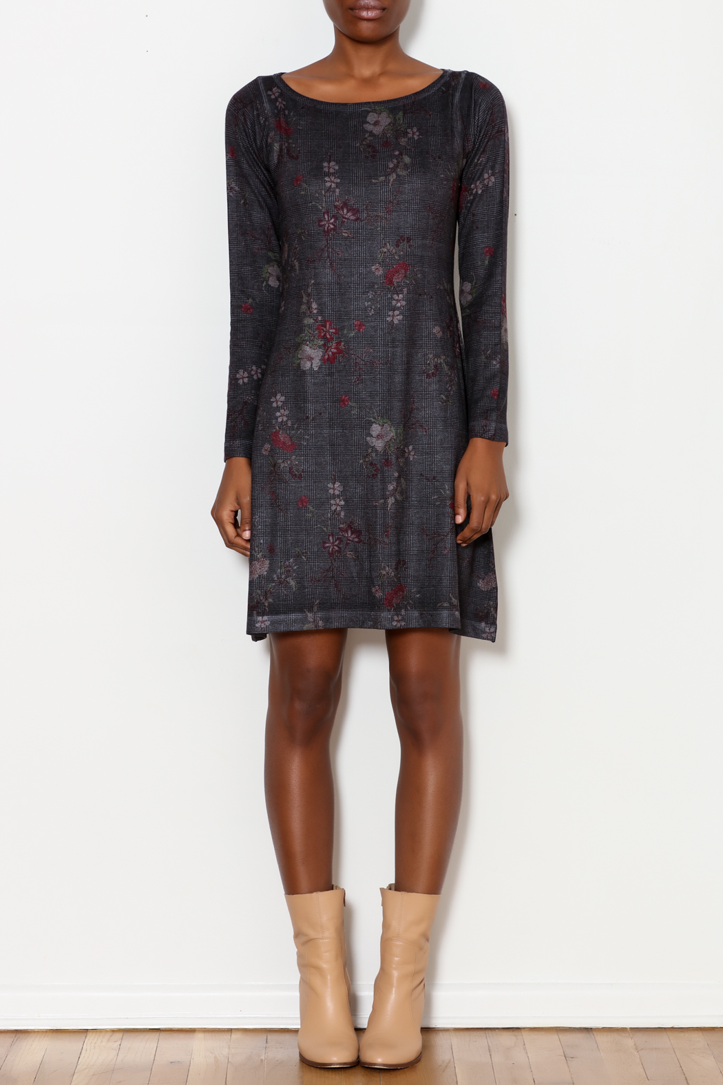 Nally & Millie Houndstooth Floral Print Dress - Front Full Image