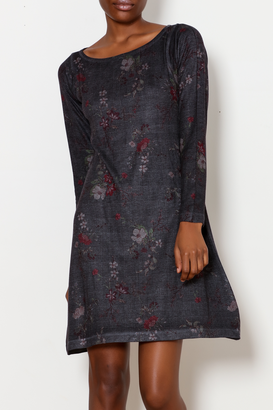 Nally & Millie Houndstooth Floral Print Dress - Main Image