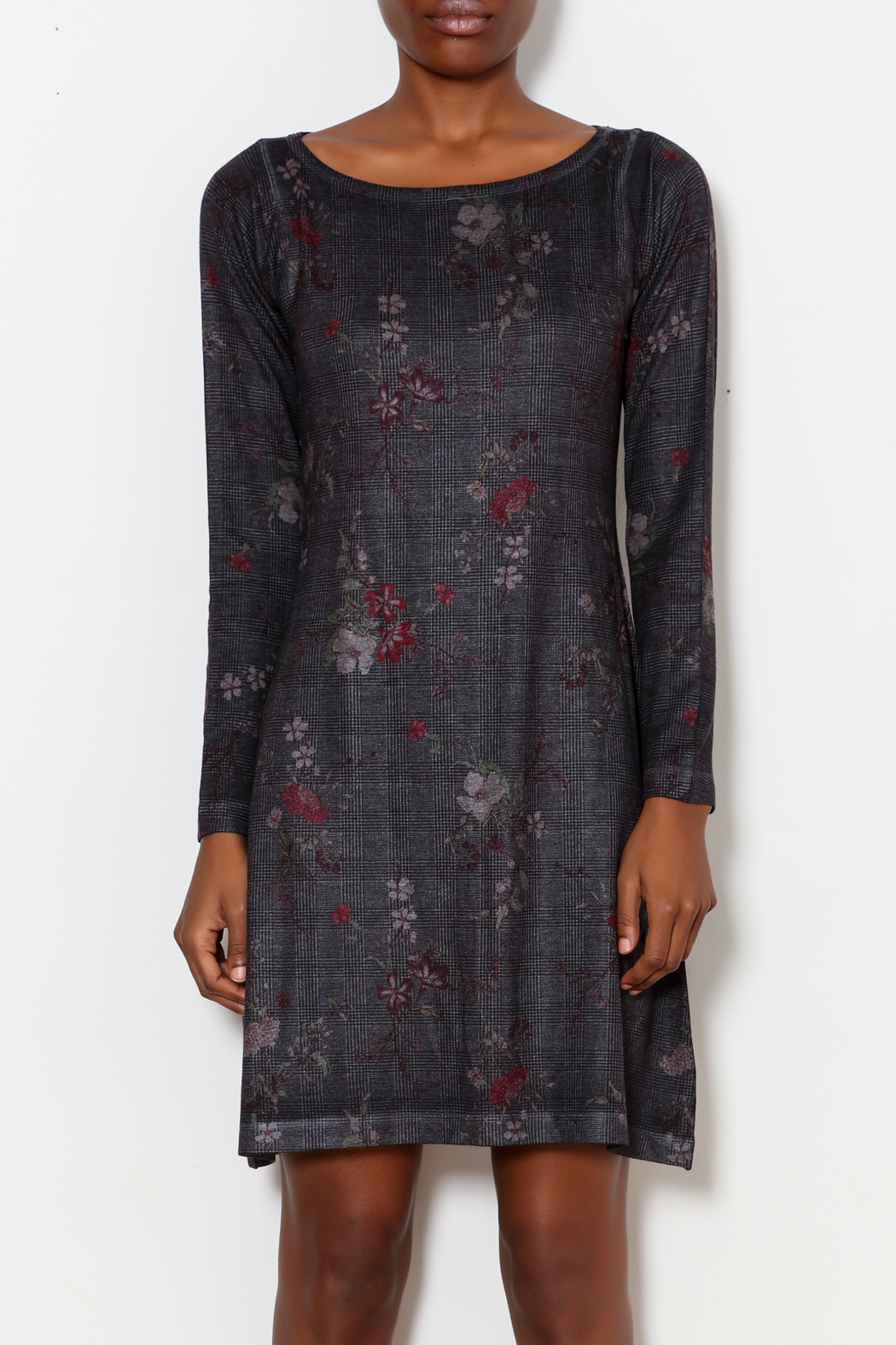 Nally & Millie Houndstooth Floral Print Dress - Side Cropped Image