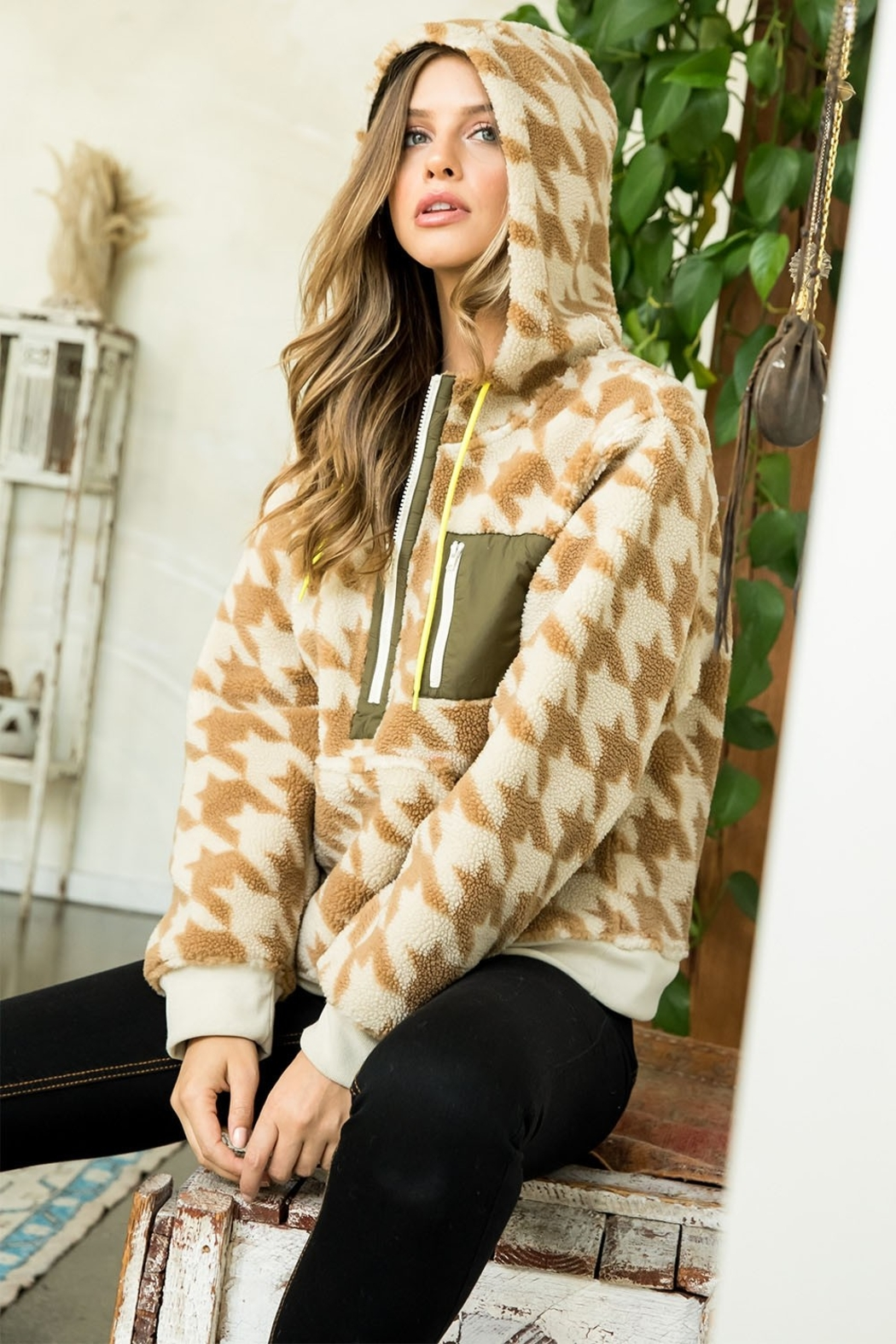 Thml Houndstooth Half Zip Sweater - Front Full Image