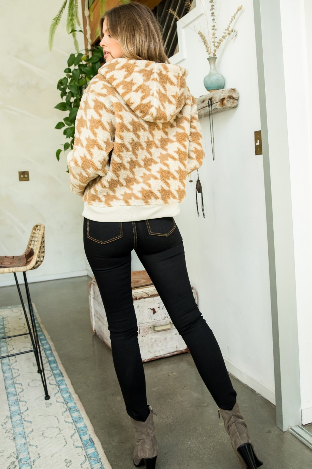 Thml Houndstooth Half Zip Sweater - Back Cropped Image